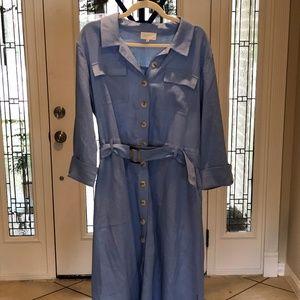 NWOT Melloday Waist Belt Linen Blend Shirt Dress